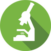 animated microscope on green background