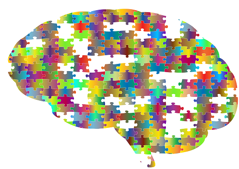 animated colorful brain made of puzzle pieces with some missing